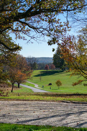 A View of the Landscape and Paths in Autumn From the Top of a Hill at Valley Forge National Historical Park