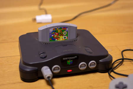 Super Mario Bros 64 in a Nintendo 64, a Popular Retro Video Game and Console