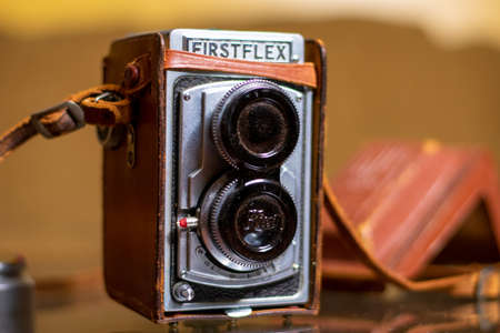 December 6, 2020 - Elkins Park, PA: A Vintage 1950s Firstflex Camera Standing Up