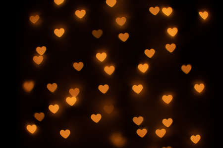 Yellow Heart Shaped Bokeh on Black