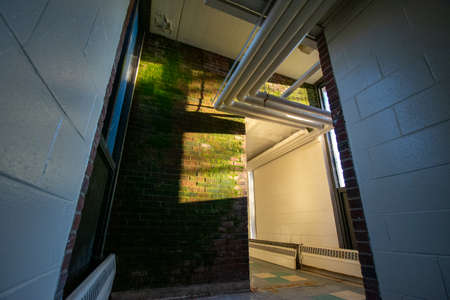 A Brick Wall With Moss Growing On It With a Nearby Window Casting Light and Shadows