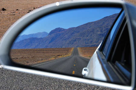 Rear-view mirror reflection photo