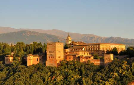 Alhambra illuminated by the setting sun, Granada, Spain