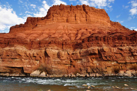 Colorado river rapids at Lees Ferry and chocolate cliff, Arizona Stok Fotoğraf