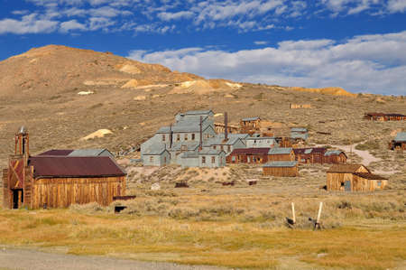 Mill and houses in Bodie State Historic Park  Bodie is a vey well preserved ghost town in California, USA photo