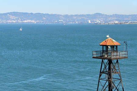 Alcatraz guard tower and view of San Francisco, California photo