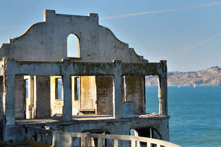 Old ruined building on Alcatraz Island, San Francisco