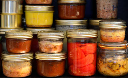 Homemade canned food  ratatouille, tomatoes, foie gras, foie-gras, mushroom, pat� photo