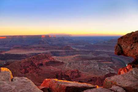 Last rays of light on Canyonlands viewed from Dead Horse Point, Utah