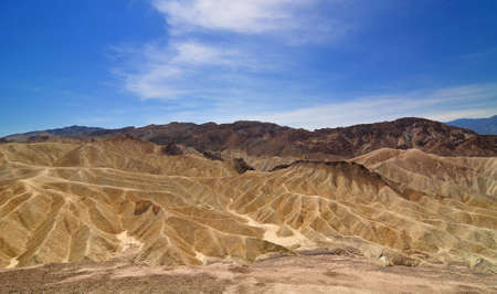badland: Badland at Zabriskie point  in Death Valley National Park, California, USA  Ultra wide angle shot