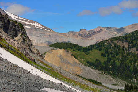Forest, snow and rocks  in Mount Rainier National Park, Washington state 写真素材
