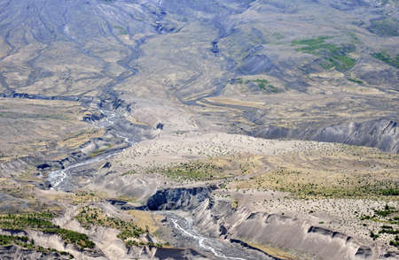 tuttle: Erosion channels at Mount St Helens, close-up  Washington state