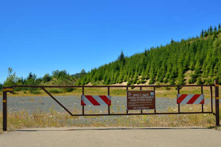 Closed to public access Mount St  Helens volcanic monument sign, Washington state photo