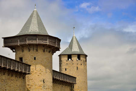 Alignment of towers in the medieval fortified city of Carcassonne. Carcassonne is located in the Aude department in southwestern France
