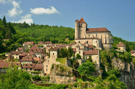 Saint Cirq Lapopie, an ancient village in France perched on a cliff above the Lot river