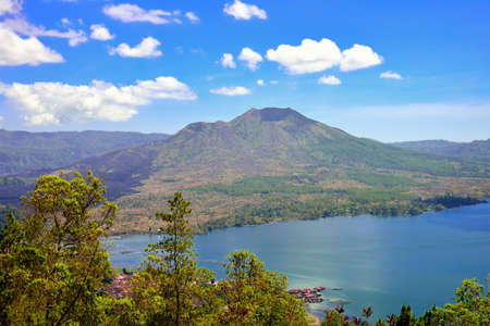 Mount and lake Batur in Bali, Indonesia photo