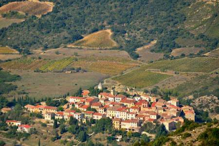 Cucugnan avsmall village in the Corbieres, Aude, Languedoc-Roussillon region of France photo