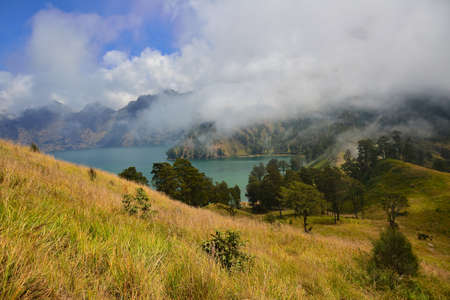 the height of a rim: Mountain lake, Mount Rinjanis caldera, Lombok, Indonesia