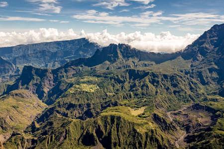 cirque: View of the Cirque de Mafate from the Maido, la Reunion island Stock Photo