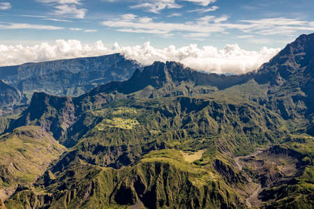 View of the Cirque de Mafate from the Maido, la Reunion island Stock Photo