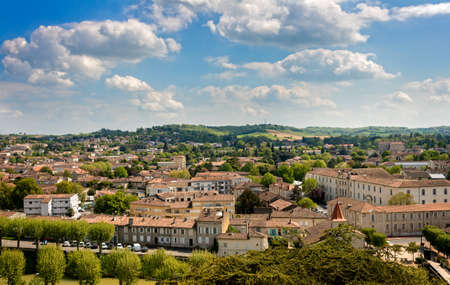 gascony: Auch cityscape with hills in background, Gers in FRance Stock Photo