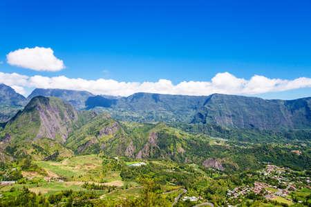 ラ レユニオン島上空から見たシルク ・ ドゥ ・ デ ・ Salazie 写真素材