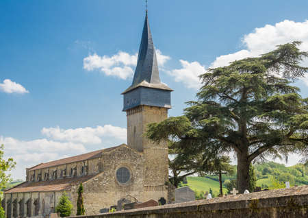 gascony: Crooked spire of the Barrans church in Gascony, France Stock Photo
