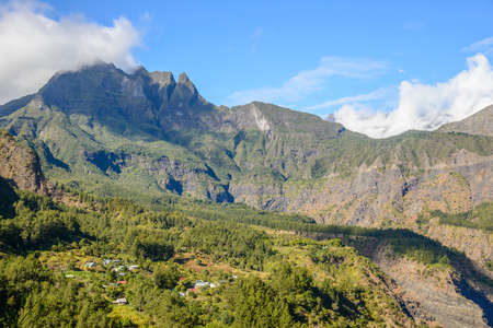 Small village in the Cirque of Mafate, la Reunion island photo