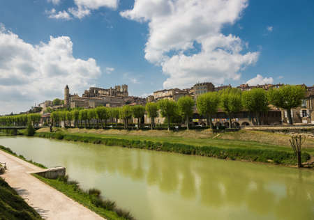 gascony: Gers river and medieval city with the cathedral in Auch, the capital of Gascony, Gers, France