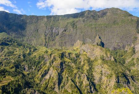 cirque: Vertical wall of the Cirque de Cilaos, la Reunion Island Stock Photo