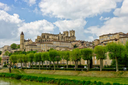 gascony: Auch, a town in Gascony with its cathedral, Gers, France