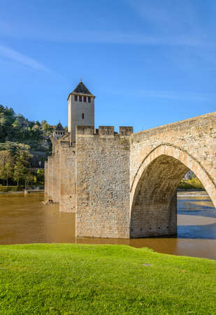 fortified: Pont Valentre fortified bridge in Cahors, France