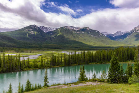 rockies: Bow river and valley in Banff National Park, Canadian rockies