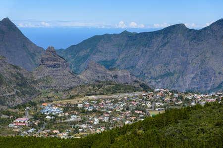 cirque: Cirque of Cilaos and city, la Reunion Island