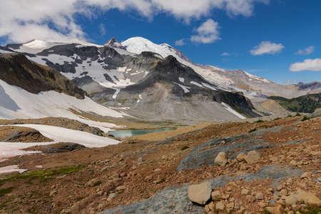 Mount Rainier, lake and Emmons glacier, Washington state