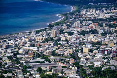 Aerial view of Saint Denis of la Reunion, with Indian ocean