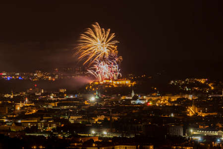 Fireworks over the night city of Brno in the Czech Republic in Europe.