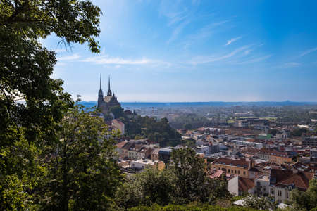 A view of the city of Brno in the Czech Republic in Europe from the viewpoint of
