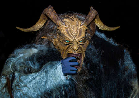 Devils Krampus at a parade in the Czech Republic 免版税图像