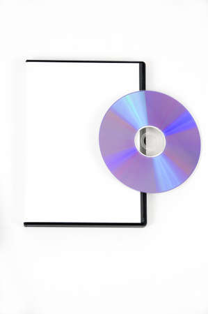 Purple DVD leaning on a white case on a white background