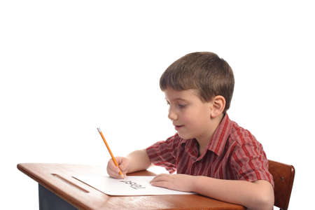 A boy in school about to take a test Stock Photo - 4474211