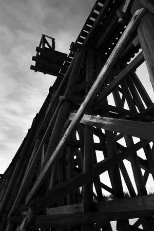 A close up of a train trussell bridge photo