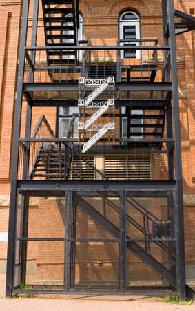 A fire escape on an old brick building Stock Photo - 5463925