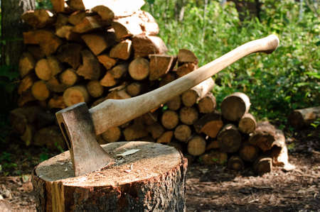 An axe stuck in a log in front of a pile of wood photo