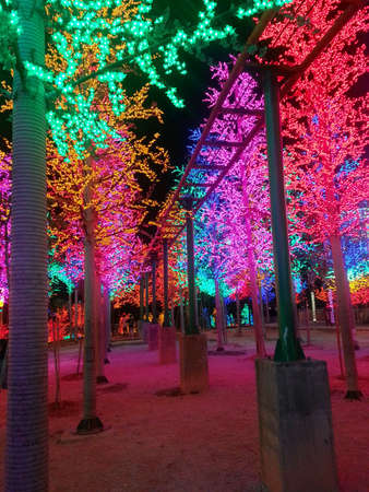 alam: Colorful LED trees in i-City theme park Shah Alam