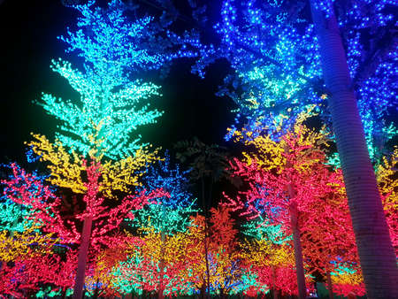shah: Colorful LED trees in i-City theme park Shah Alam