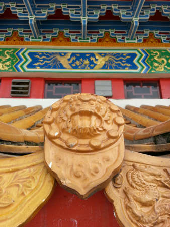upturned: Close up of traditional Chinese temple roof Stock Photo