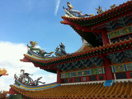 upturned: Upturned eaves of a Chinese temple