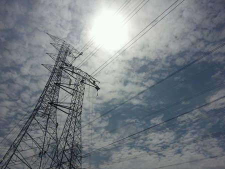linemen: Linemen repairing electricity distribution lines Stock Photo