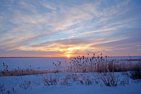Winter rural landscape. Lake in winter.